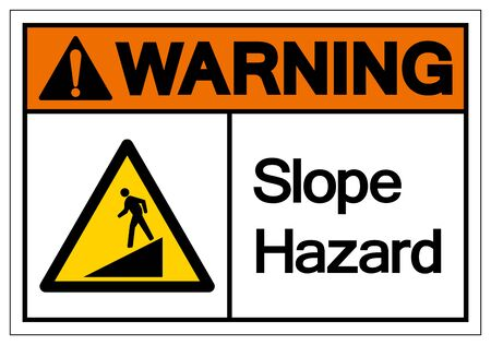 Warning Slope Hazard Symbol Sign,Vector Illustration, Isolate On White Background Label. 向量圖像