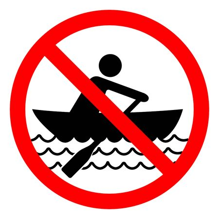 No Rowing Symbol Sign, Vector Illustration, Isolate On White Background Label.