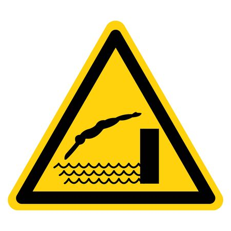 Warning Diving Shallow Water Area Symbol, Vector  Illustration, Isolated On White Background Label. EPS10
