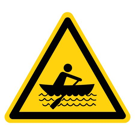 Warning Rowing Symbol Sign, Vector Illustration, Isolate On White Background Label. EPS10