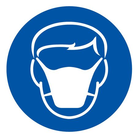 Wear Face Mask Protection Symbol Sign,Vector Illustration, Isolated On White Background Label.