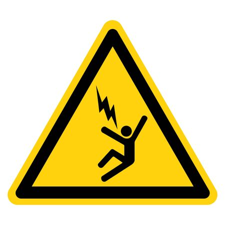 Warning Electrocution Risk Symbol Sign ,Vector Illustration, Isolate On White Background Label.
