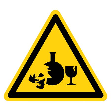 Warning Broken Glass Hazard Symbol Sign ,Vector Illustration, Isolate On White Background Label.