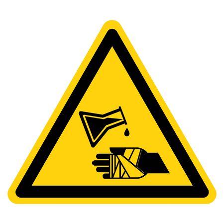 Warning Chemical Burns Hazard Symbol Sign ,Vector Illustration, Isolate On White Background Label.