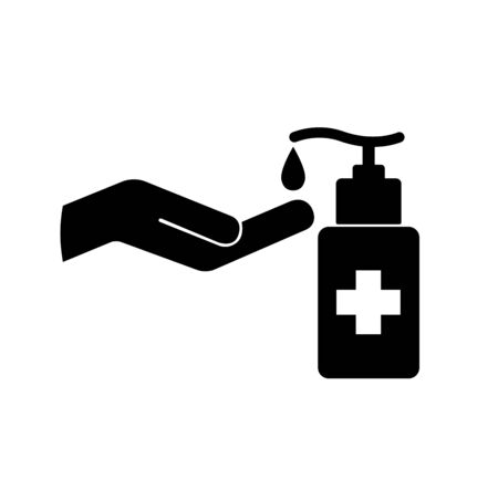 Use Hand Sanitizer Black Icon ,Vector Illustration, Isolate On White Background Label.