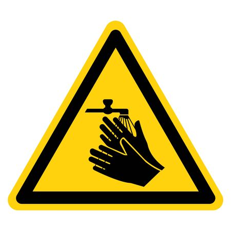 Warning Please Wash Your Hand Symbol Sign,Vector Illustration, Isolated On White Background Label. EPS10