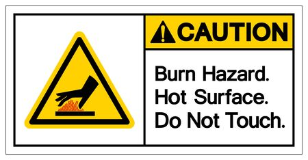 Caution Burn Hazard Hot Surface Do Not Touch Symbol Sign, Vector Illustration, Isolate On White Background Label .EPS10