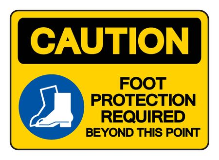 Caution Foot Protection Required Beyond This Point Symbol Sign, Vector Illustration, Isolate On White Background Label Banco de Imagens - 147225646