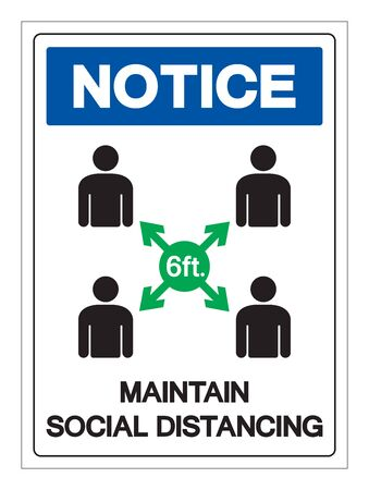 Notice Maintain Social Distancing Symbol, Vector Illustration, Isolated On White Background Label. Vetores