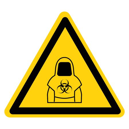 Warning Protective Clothing Of Biological Hazard Symbol, Vector Illustration, Isolate On White Background Label.