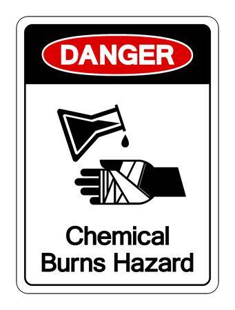 Danger Chemical Burns Hazard Symbol Sign ,Vector Illustration, Isolate On White Background Label. 向量圖像