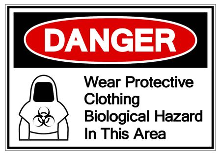 Danger Protective Clothing Biological Hazard Symbol, Vector Illustration, Isolate On White Background Label.