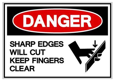 Gefahr scharfe Kanten schneiden halten Finger klar Symbol Zeichen, Vektor-Illustration, isolieren auf weißem Hintergrund-Label.