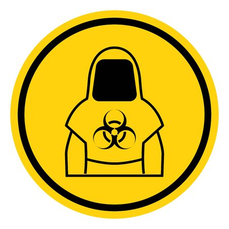 Protective Clothing Of Biological Hazard Symbol, Vector Illustration, Isolate On White Background Label. Stock Illustratie