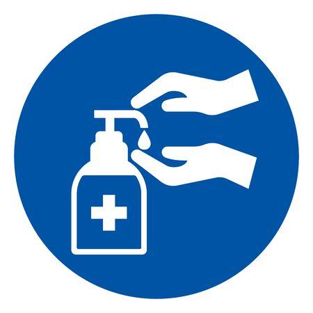 Please Use Hand Sanitiser Symbol Sign, Vector Illustration, Isolate On White Background Label.