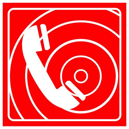 Fire Telephone Symbol Sign, Vector Illustration, Isolate On White Background Label.