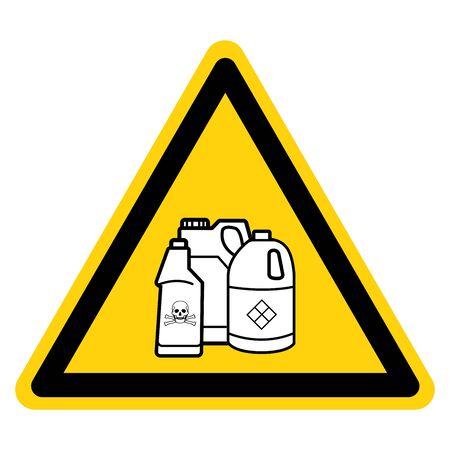 Avertissement Les produits chimiques dangereux pour piscines éloignent le signe du symbole, l'illustration vectorielle, l'isolent sur l'étiquette de fond blanc. EPS10 Vecteurs