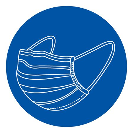 Wear Face Mask Symbol Sign, Vector Illustration, Isolate On White Background Label. Vetores