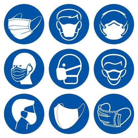 Set Of Face Mask Face Symbol Sign,Vector Illustration, Isolated On White Background Label.