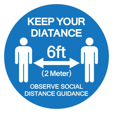 Keep Your Distance 6ft Observe Social Distance Guidance Symbol, Vector Illustration, Isolated On White Background Label.