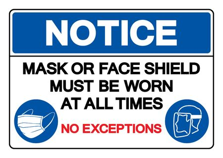 Notice Mask Or Face Shield Must Be Worn At All Time No Exceptions Symbol Sign ,Vector Illustration, Isolate On White Background Label.