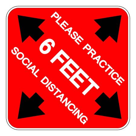 Please Practice 6 Feet Social Distancing Symbol, Vector  Illustration, Isolated On White Background Label.