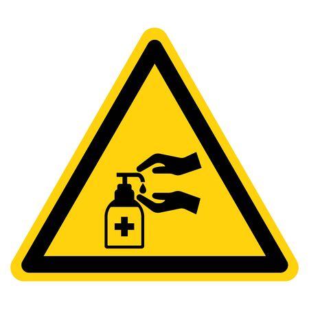 Warning Please Use Hand Sanitiser Symbol Sign, Vector Illustration, Isolate On White Background Label. Иллюстрация