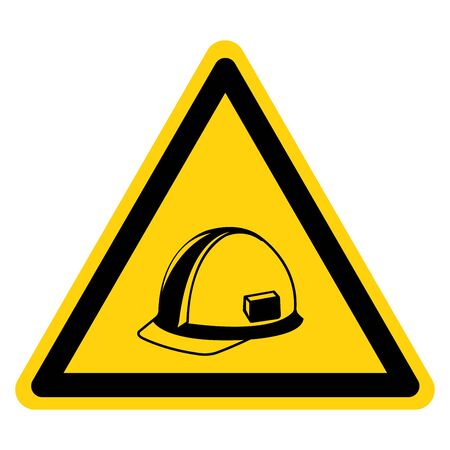 Warning Wear Head Protection Symbol Sign, Vector Illustration, Isolate On White Background Label. EPS10