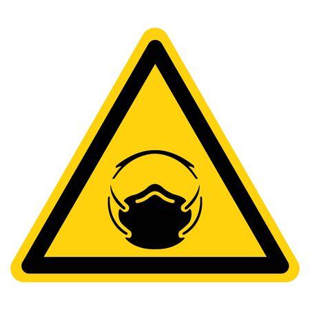 Warning Wear Dust Mask Protection Symbol Sign, Vector Illustration, Isolate On White Background Label. Иллюстрация