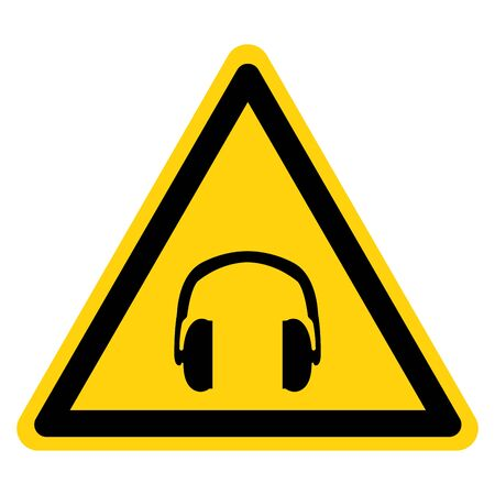 Warning Hearing Protection Symbol Sign, Vector Illustration, Isolate On White Background Label. EPS10 Иллюстрация