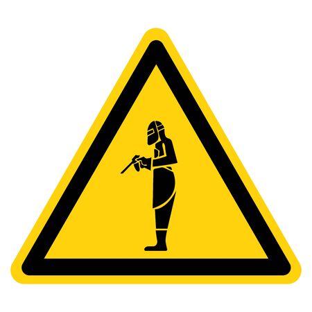 Warning Full Welding Gear Symbol Sign, Vector Illustration, Isolate On White Background Label. EPS10 Иллюстрация