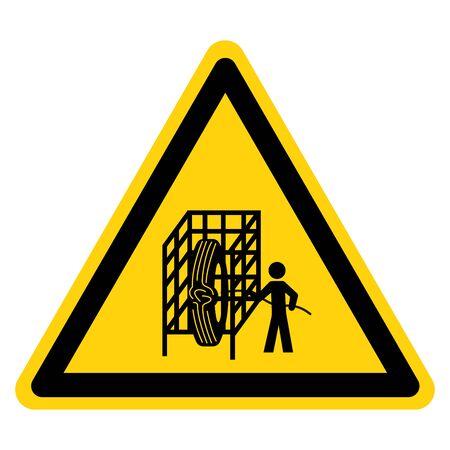 Warning Cage Symbol Sign, Vector Illustration, Isolate On White Background Label. Иллюстрация