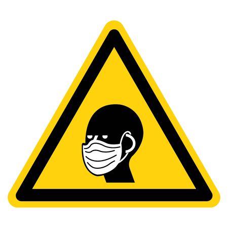 Warning Wear Face Mask Symbol Sign, Vector Illustration, Isolate On White Background Label.