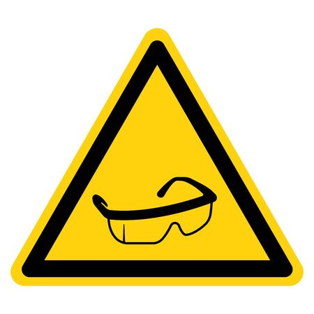 Warning Wear Eye Protection Symbol Sign,Vector Illustration, Isolated On White Background Label. Иллюстрация