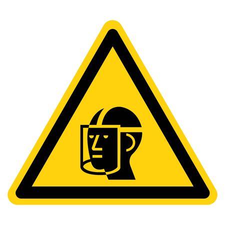 Warning Wear Face Shield Symbol Sign ,Vector Illustration, Isolate On White Background Label. Иллюстрация