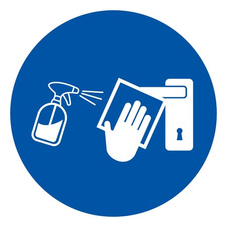 Clean High-Touch Surface Regularly Prevent Of Covid-19 Symbol Sign, Vector Illustration, Isolate On White Background Label