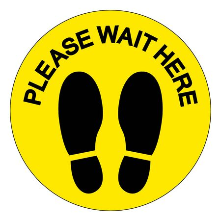 Please Wait Here For Maintain Social Distancing Symbol, Vector  Illustration, Isolated On White Background Label. Çizim