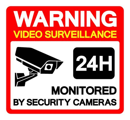 Warning Video Surveillance 24 Hr. Monitored By Security Cameras Symbol Sign, Vector Illustration, Isolate On White Background Label. EPS10  Иллюстрация
