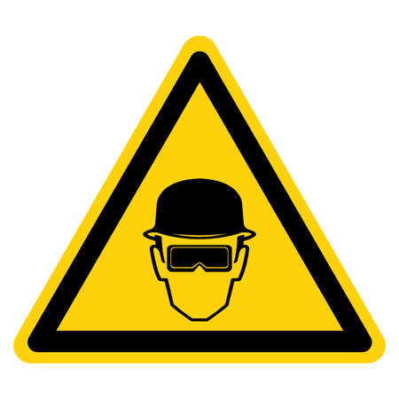 Warning Wear Head Protection Symbol Sign,Vector Illustration, Isolated On White Background Label.