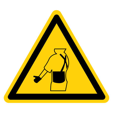 Warning Wear Back Support Symbol Sign, Vector Illustration, Isolated On White Background Icon. Иллюстрация