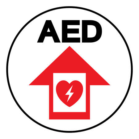 AED Automated External Defibrillator Symbol Sign, Vector Illustration, Isolate On White Background Label