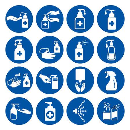 Set Of Use Hand Sanitizer Symbol Sign ,Vector Illustration, Isolate On White Background Label.