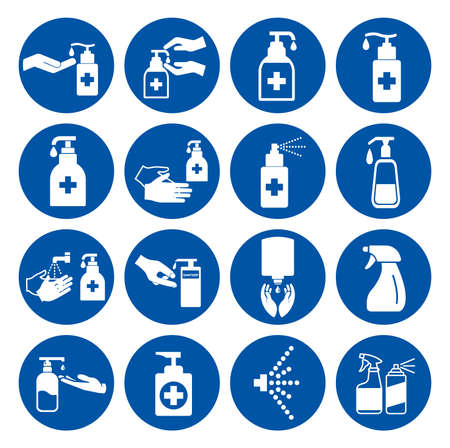 Set Of Use Hand Sanitizer Symbol Sign ,Vector Illustration, Isolate On White Background Label.