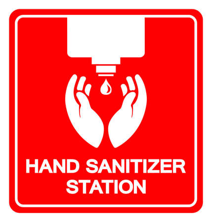 Hand Sanitizer Station Symbol Sign, Vector Illustration, Isolate On White Background Label.