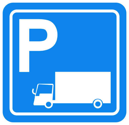 Truck Parking Symbol Sign, Vector Illustration, Isolate On White Background Label. EPS10 Ilustração
