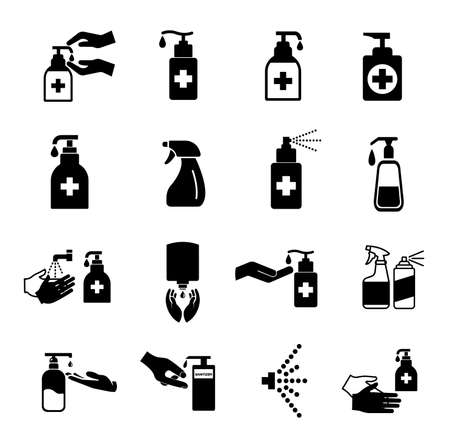 Set Of Sanitizer Black Icon ,Vector Illustration, Isolate On White Background Label.  イラスト・ベクター素材