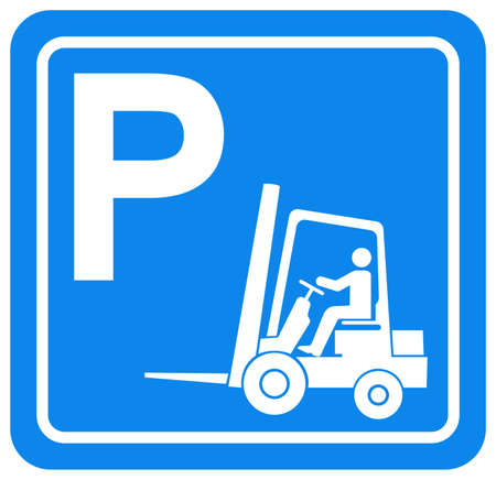 Forklift Parking Symbol Sign, Vector Illustration, Isolate On White Background Label. EPS10