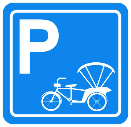 Tricycle Parking Symbol Sign, Vector Illustration, Isolate On White Background Label.
