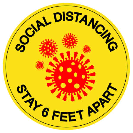 Social Distancing 6 Feet Apart Symbol, Vector  Illustration, Isolated On White Background Label.