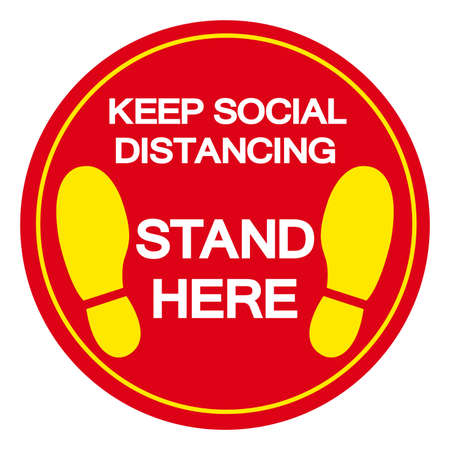 Keep Social Distancing Stand Here Symbol, Vector  Illustration, Isolated On White Background Label.  イラスト・ベクター素材